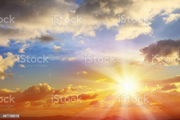Photo of Sunbean of Sunset Sky