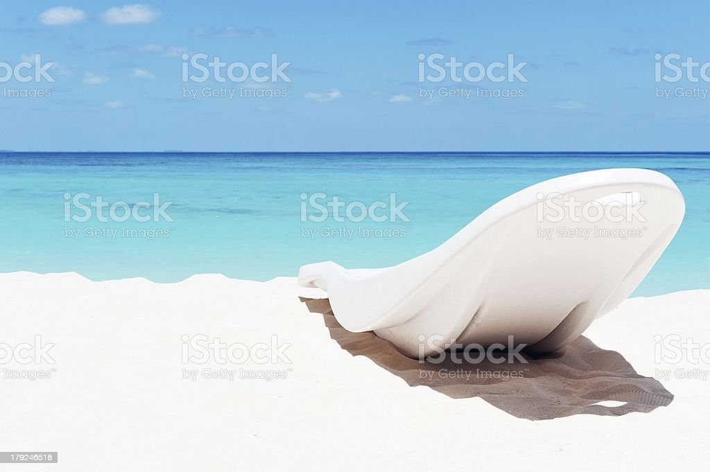 sunbed on the beach royalty-free stock photo