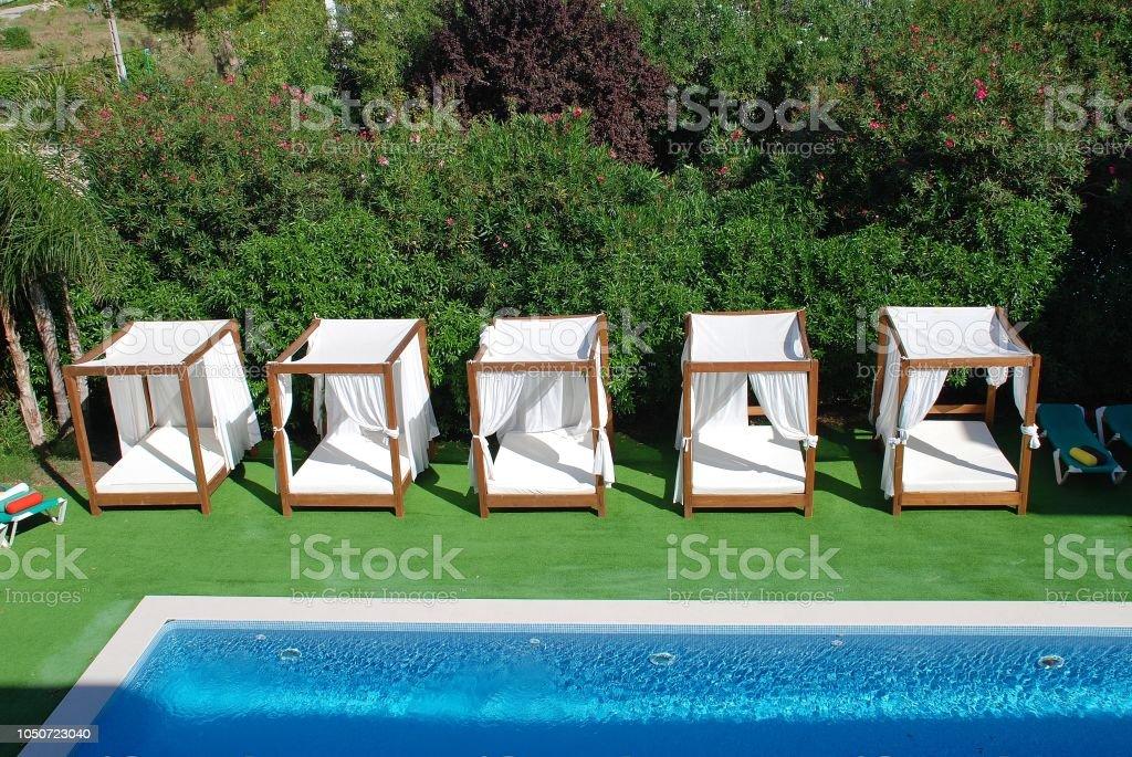 Sunbeds and pool, Majorca stock photo