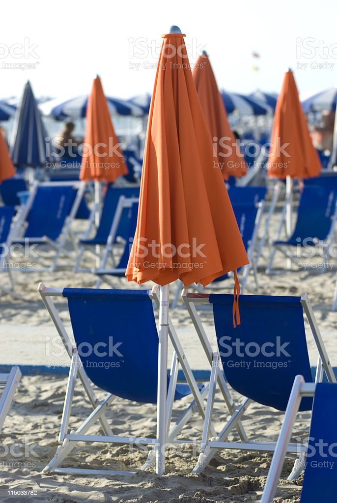 sunbeds and umbrella in a beach lidos royalty-free stock photo