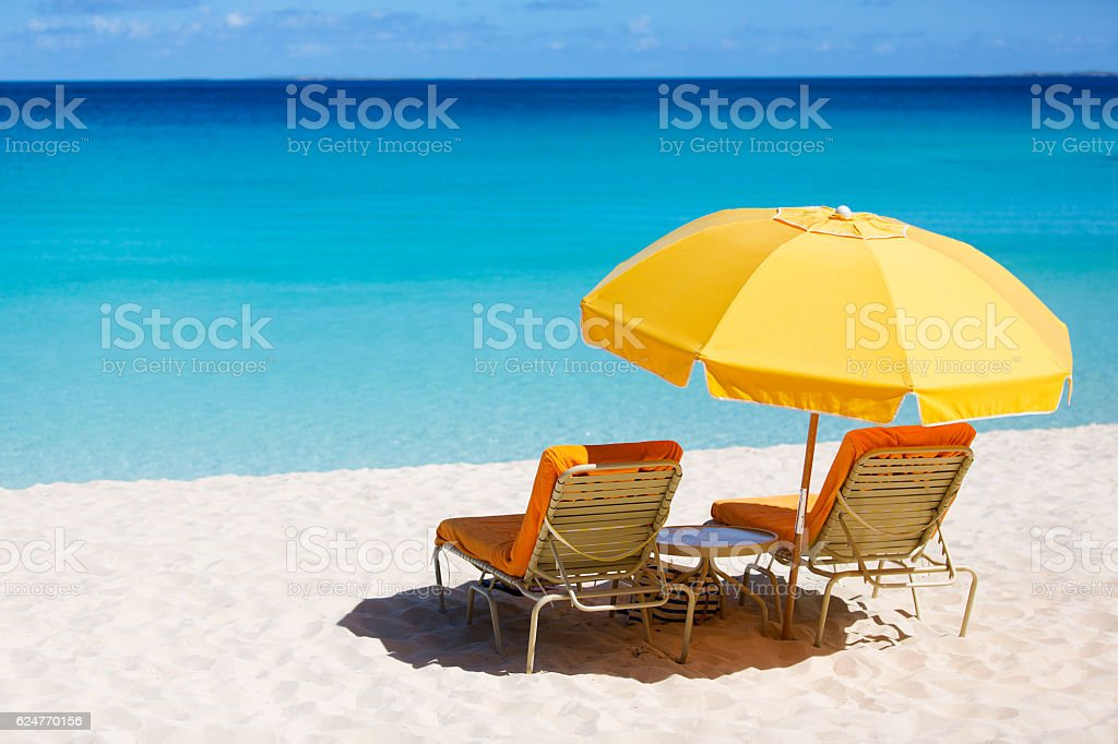 sunbeds at the beach stock photo