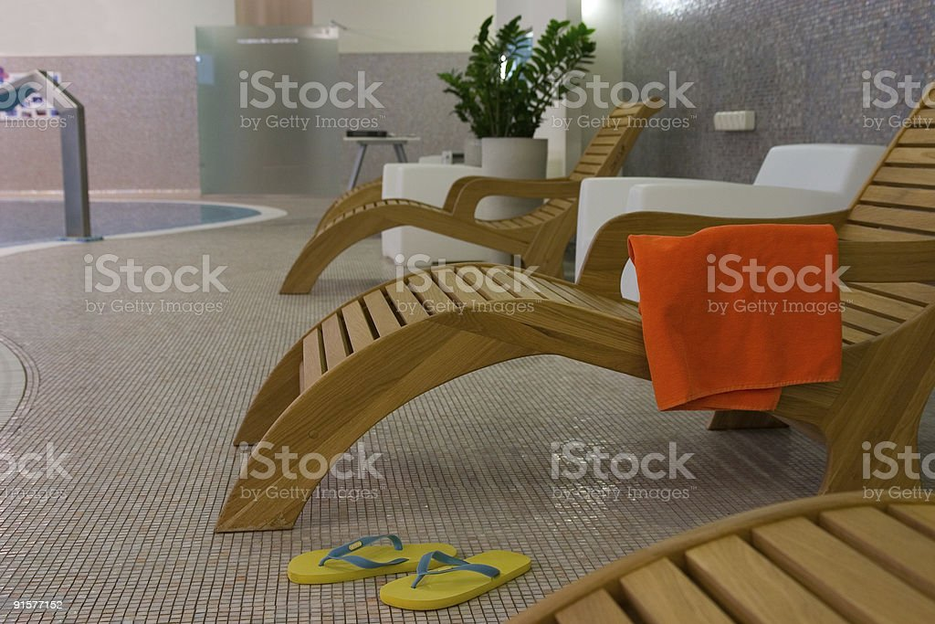 sunbeds in the fitness royalty-free stock photo