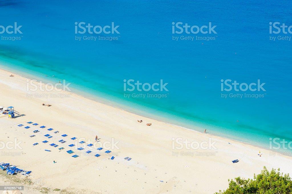 Sunbeds on Myrtos Beach, Kefalonia stock photo