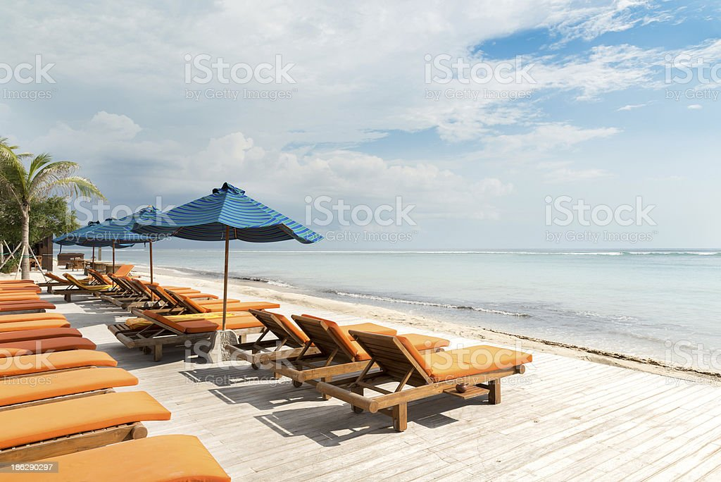 Sunbeds royalty-free stock photo