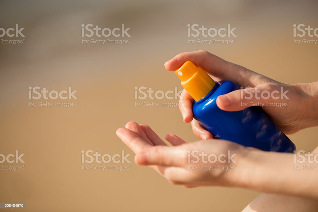 Sunblock lotion stock photo