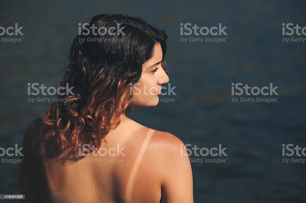 Sunburn and Tan Lines stock photo