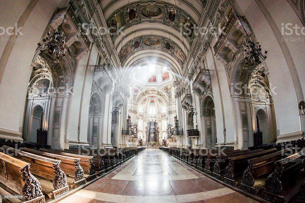 Sunburst in Salzburg Cathedral stock photo