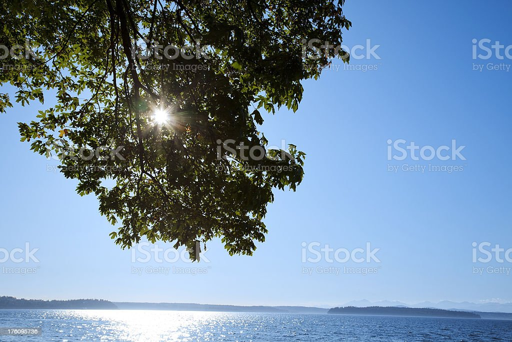 sunburst over water blue sky stock photo