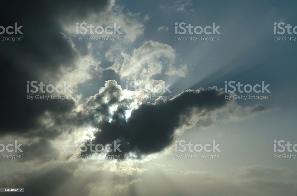 Sunburst Through the Clouds stock photo