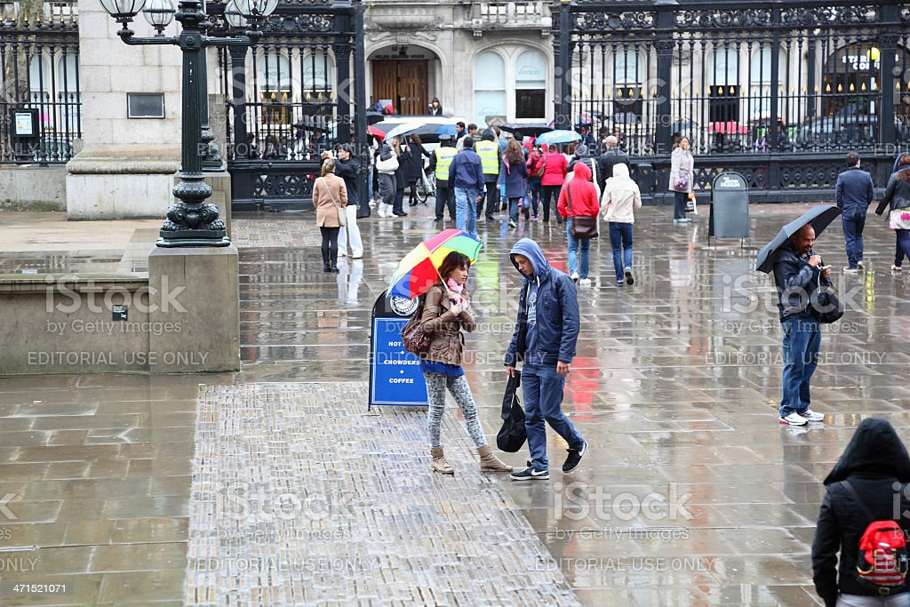 Sunday afternoon museum visitors in rainy London stock photo