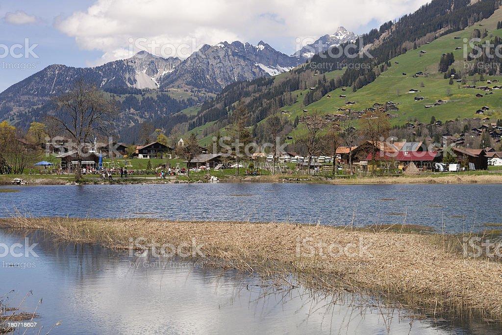 Sunday Afternoon Spring, Swiss Alps, Bernese Oberland, Lenk stock photo