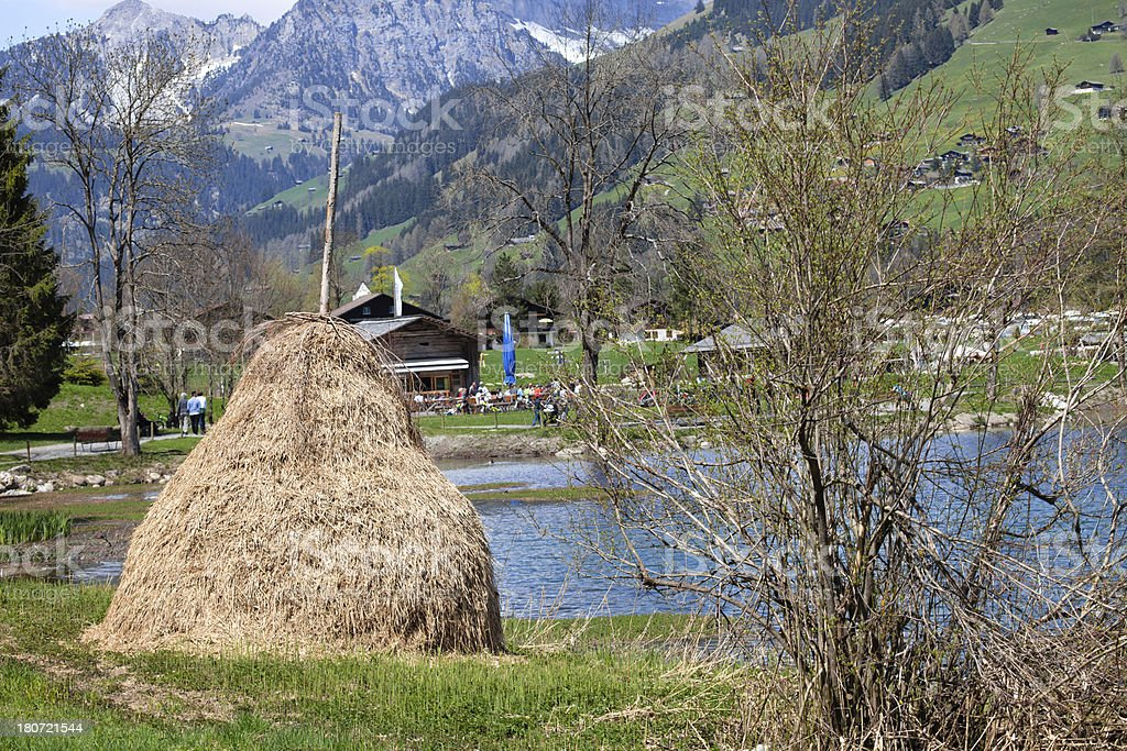 Sunday Afternoon Spring, Swiss Alps, Bernese Oberland stock photo
