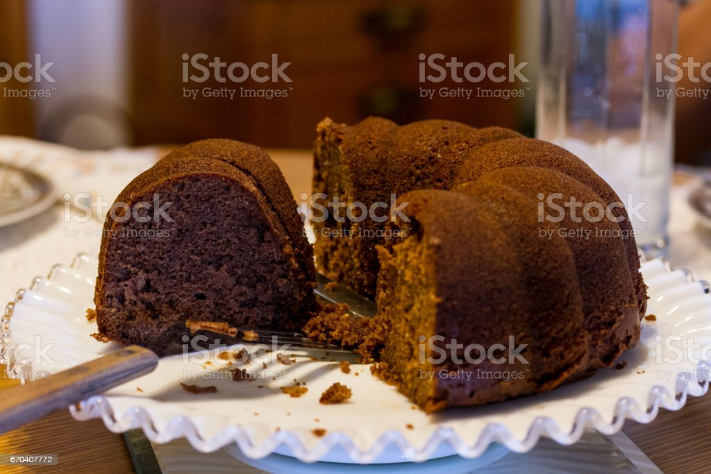 Sunday chocolate bundt cake with the family stock photo