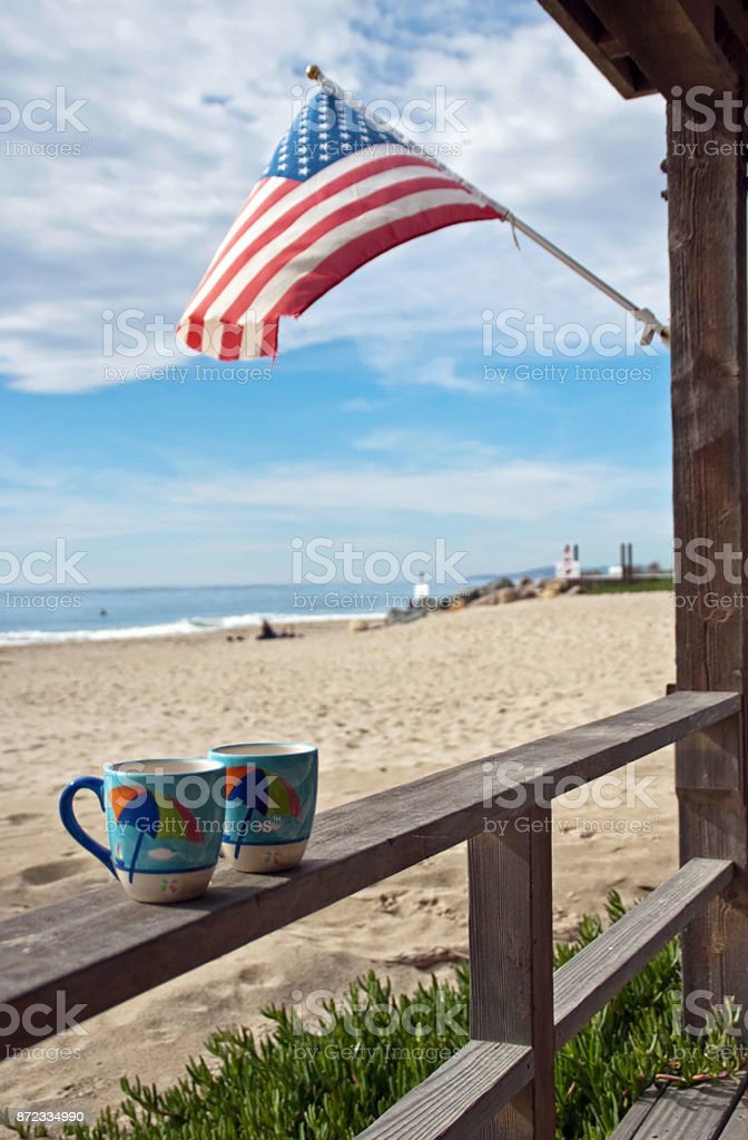 Sunday Coffee at the Beach House stock photo