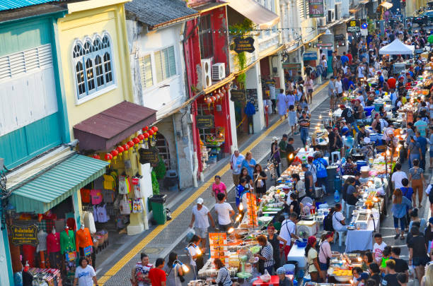 Sunday evening street food market at Thalang Road in Phuket Old Town stock photo