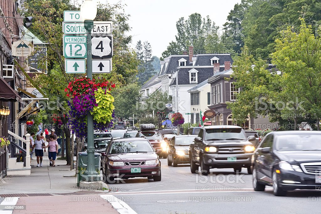 Sunday evening traffic in downtown Woodstock, Vermont stock photo
