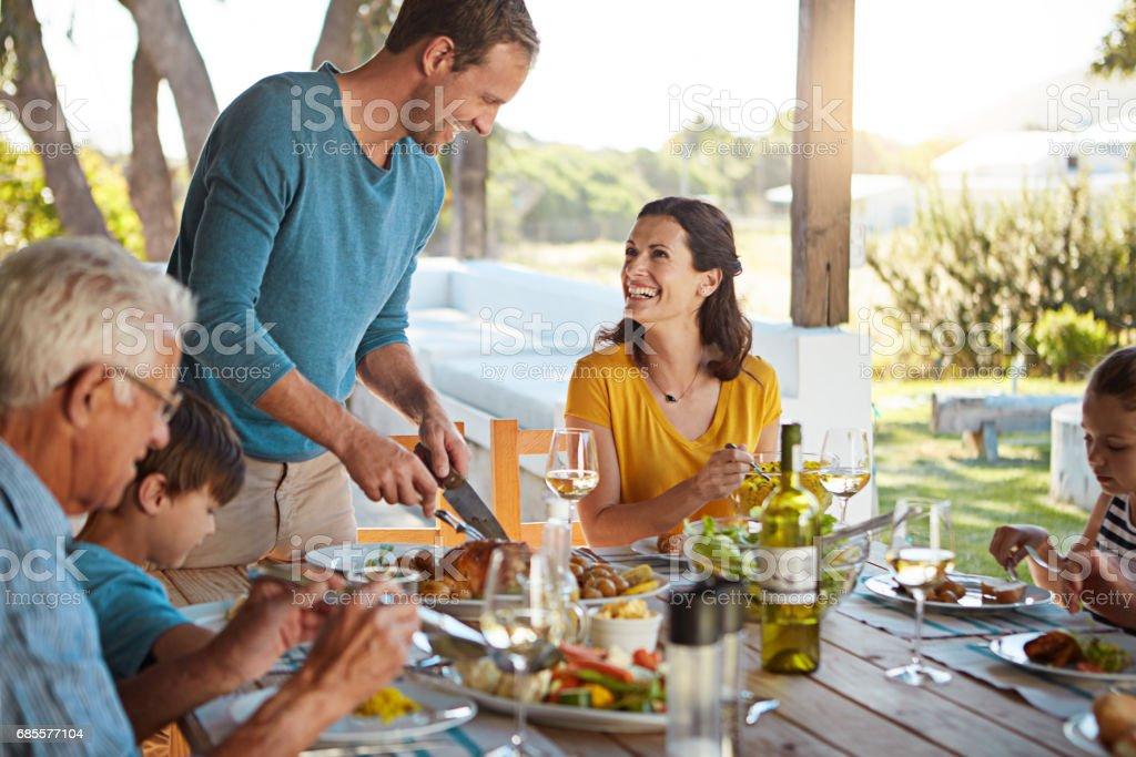 星期日的美餐,為整個家庭的 免版稅 stock photo