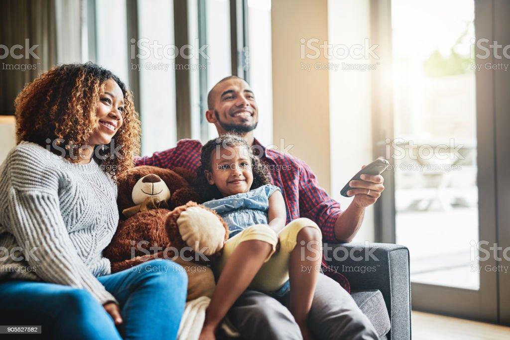 Sunday is family movie day stock photo