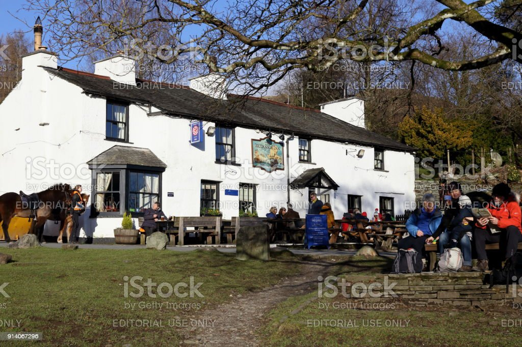 Sunday Lunch at Elterwater in January. stock photo