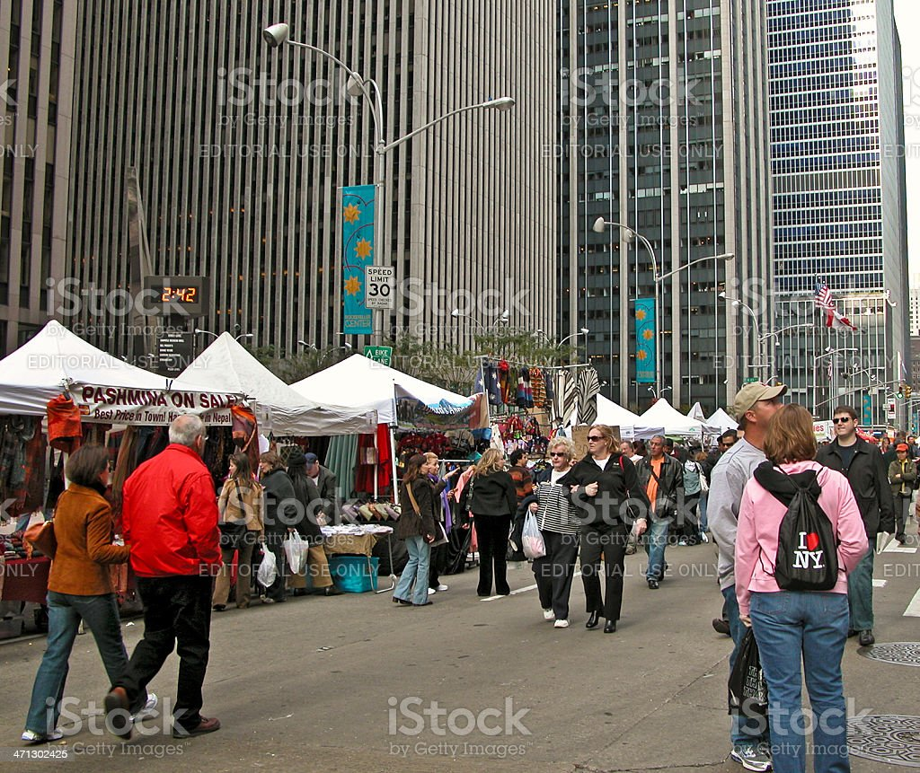 Sunday Market 6th Avenue Manhattan Nyc Stock Photo - Download Image