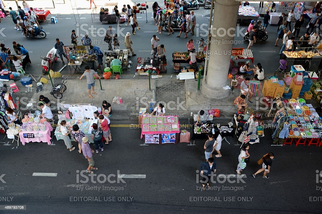 Sunday market in Silom district, Bangkok Thailand stock photo