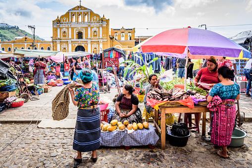 Sunday Market In Town Plaza Santa Maria De Jesus Guatemala Stock Photo - Download Image Now