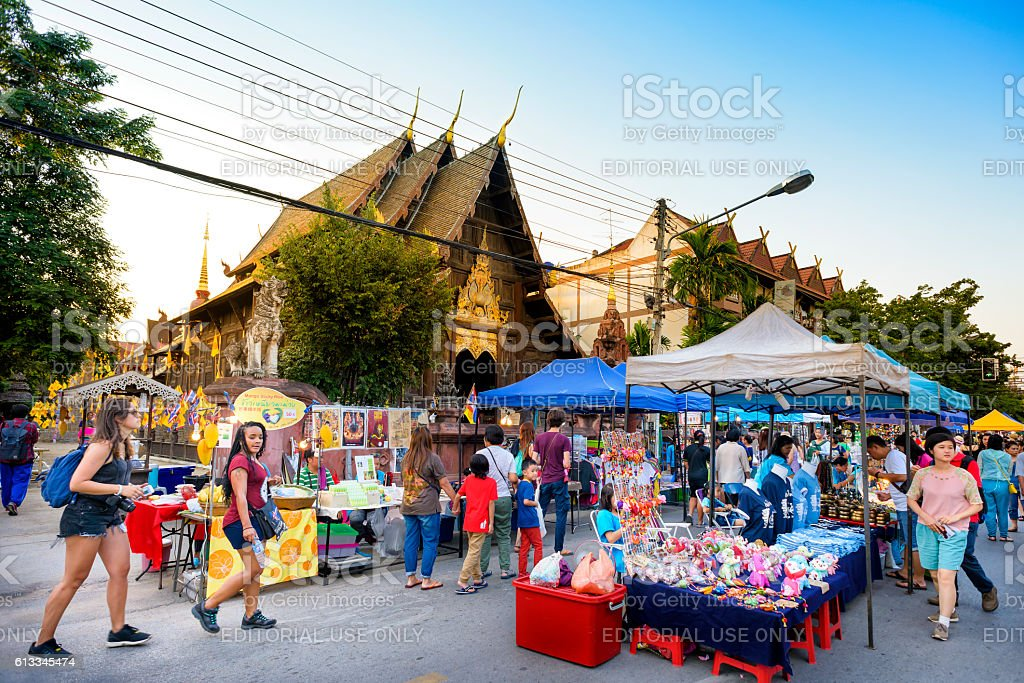 Sunday market walking street stock photo