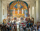 Trebinje, Bosnia and Hercegovina - August 11, 2013: Sunday mass in Orthodox church in Trebinje, Bosnia and Hercegovina