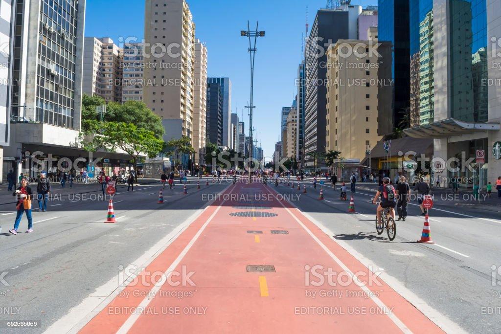 Sunday morning on Paulista Avenue, people enjoying, sunny day stock photo