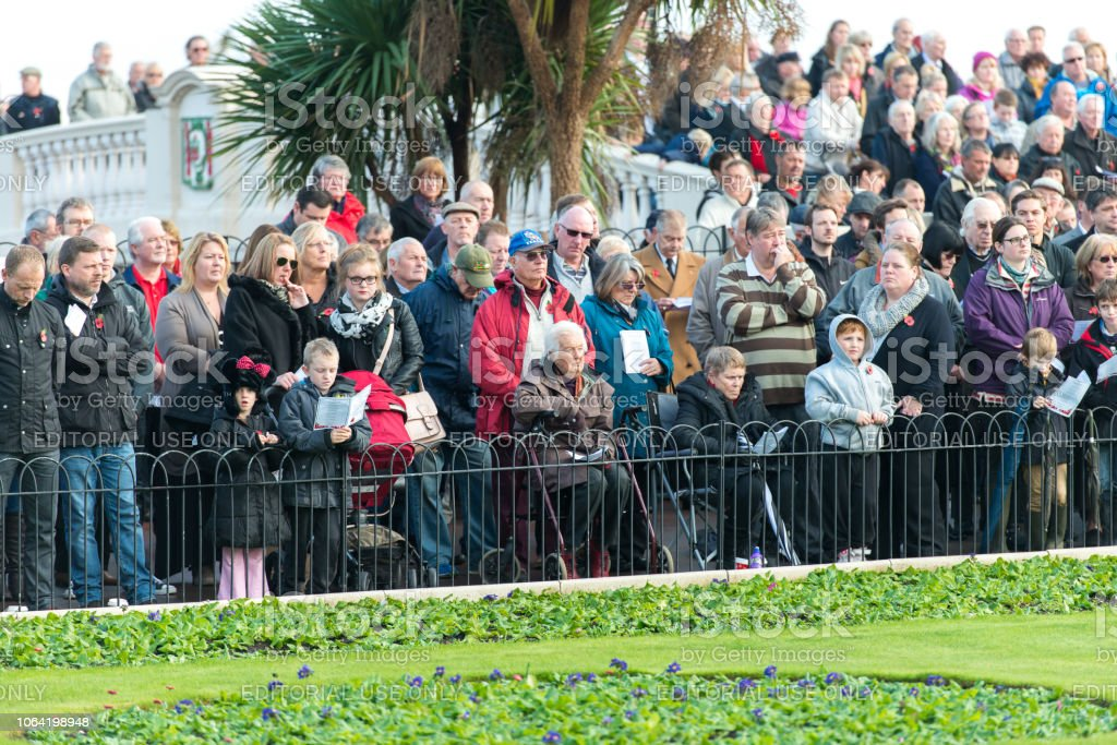 Sunday Remembrance Day Parade, people and veterans march in the annual parade, Clacton on sea, Essex stock photo