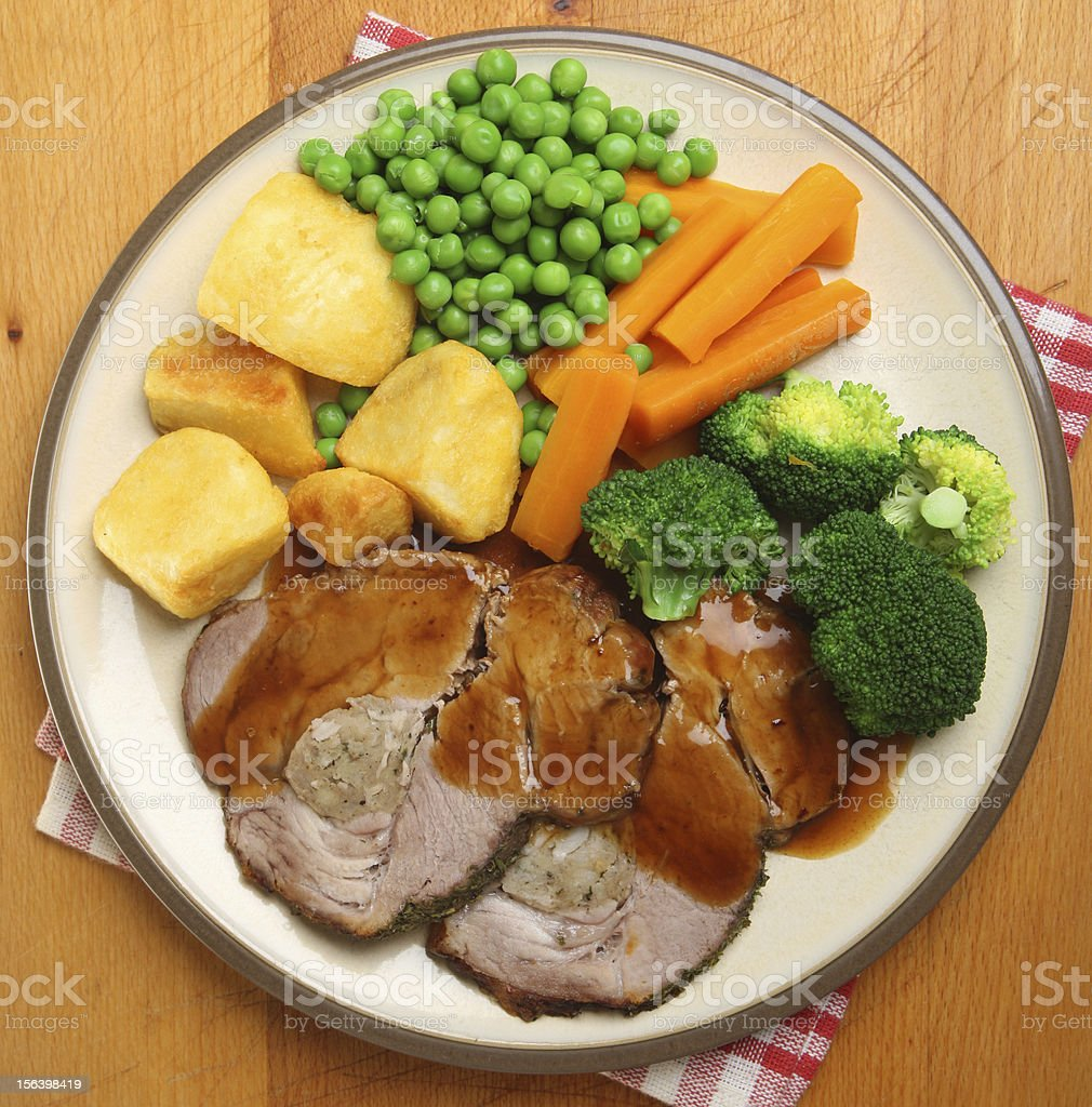 Sunday Roast Pork Dinner stock photo