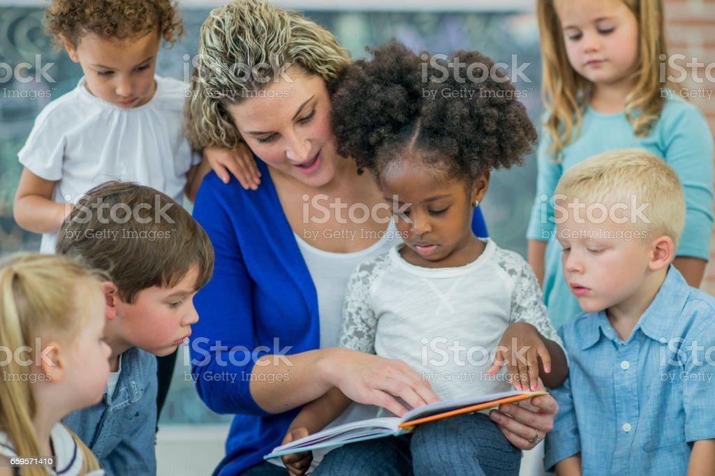 Sunday school group reading stock photo