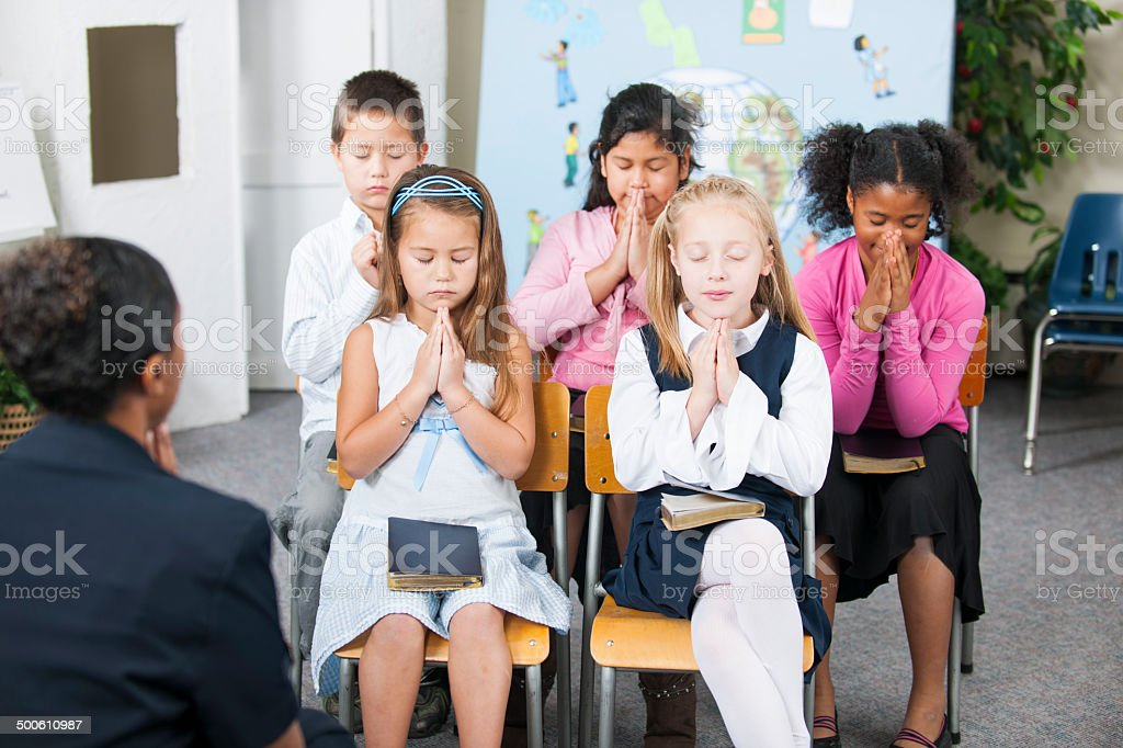 Sunday school kids stock photo