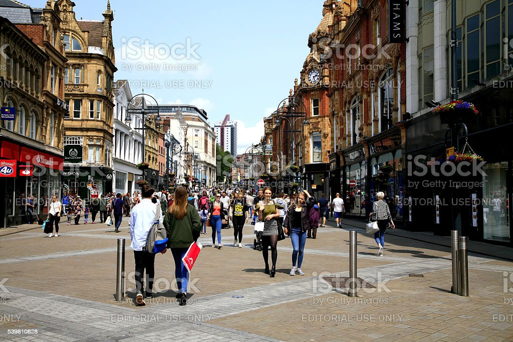 Sunday Shopping--Leeds, Yorkshire. stock photo