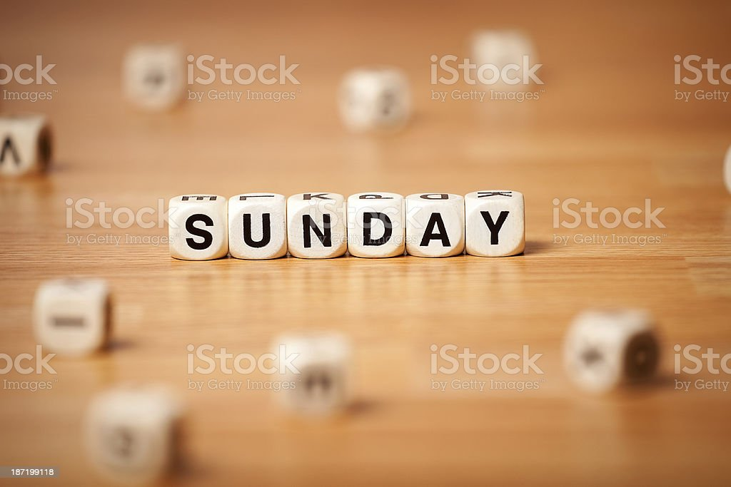 Sunday Spelled In Letter Cubes royalty-free stock photo