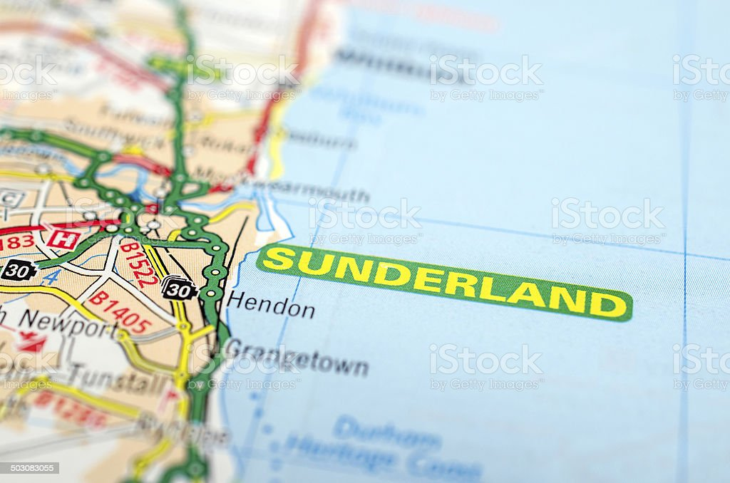 Sunderland on road map stock photo