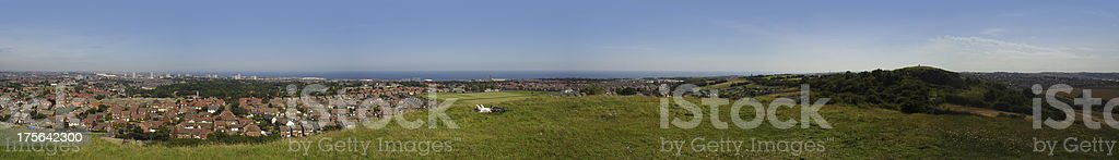 Sunderland panorama view from Tunstall Hill stock photo