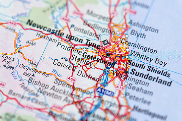 Sunderland Map of Sunderland. northeastern england stock pictures, royalty-free photos & images