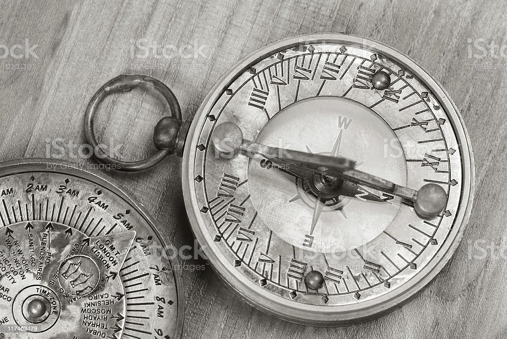 Sundial and compass royalty-free stock photo