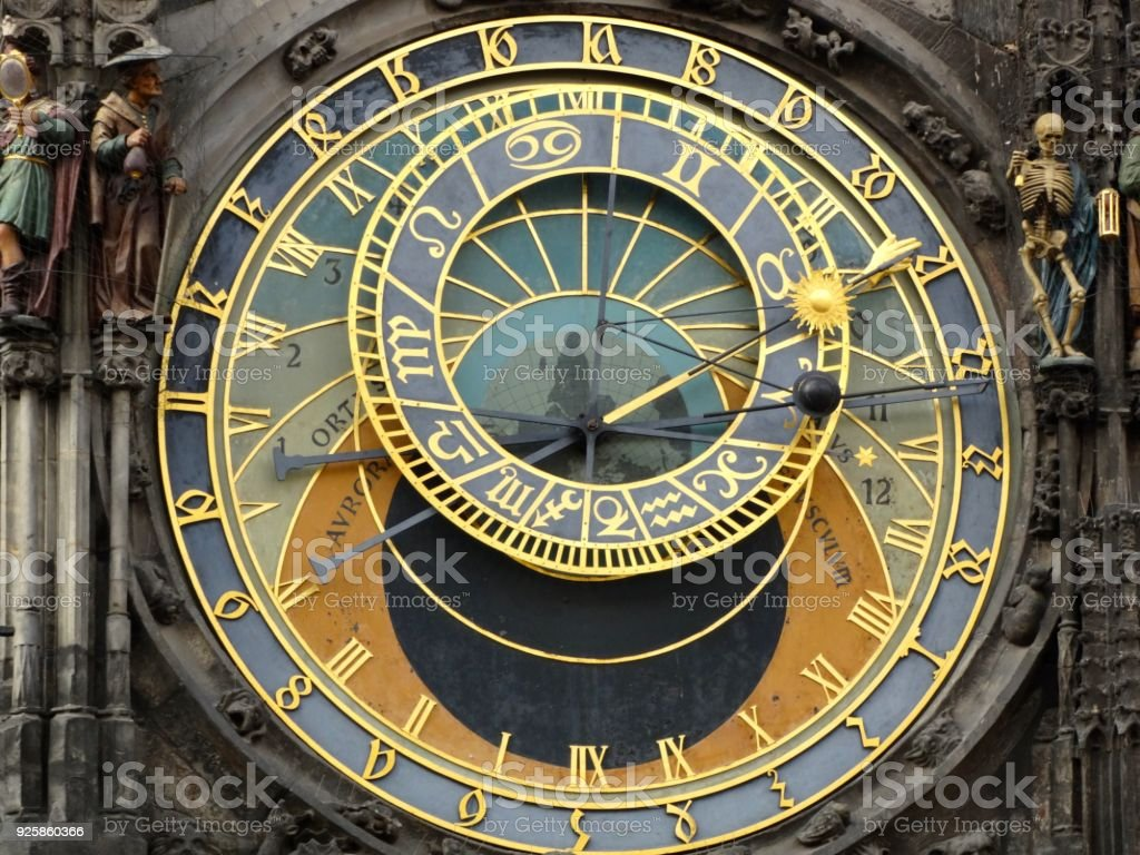 Sun-Dial at the old City Hall of Prague stock photo
