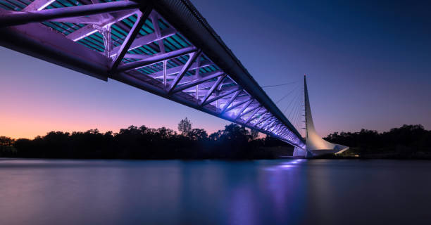 Sundial Bridge at Turtle Bay panorama at night stock photo