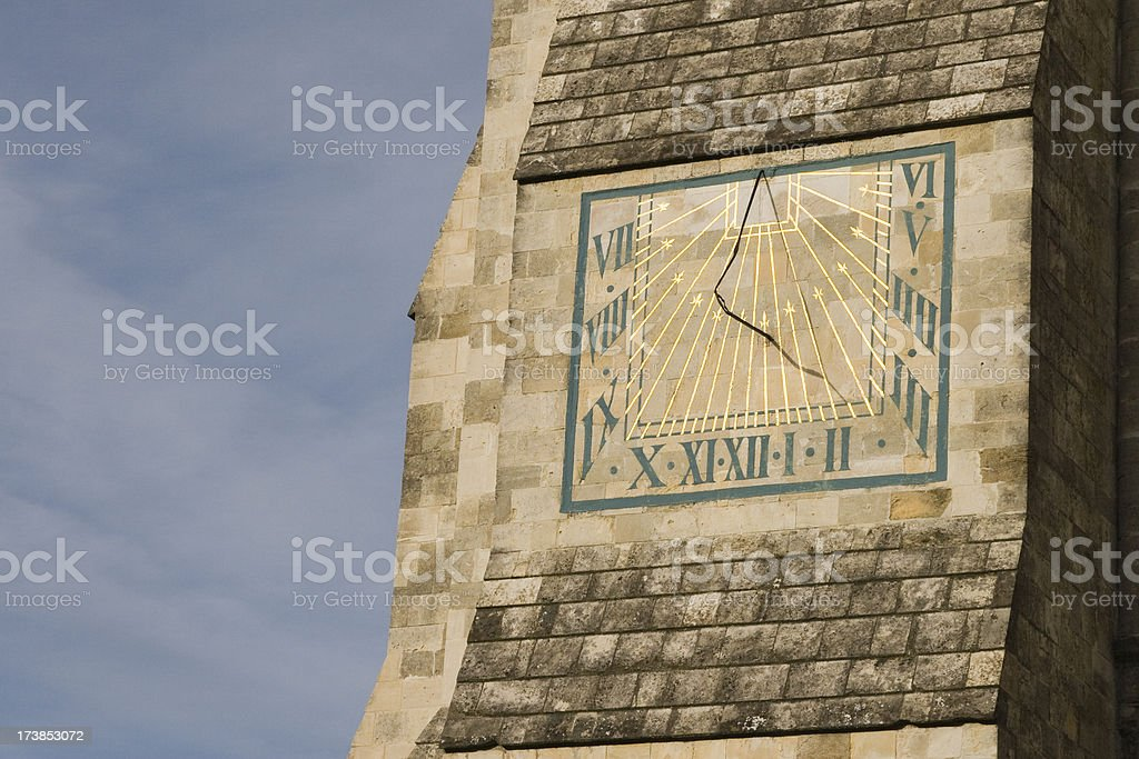 Sundial on Chichester Cathedral stock photo