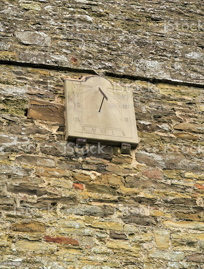 Sundial on Church of St. John the Baptist, Stokesay, England stock photo