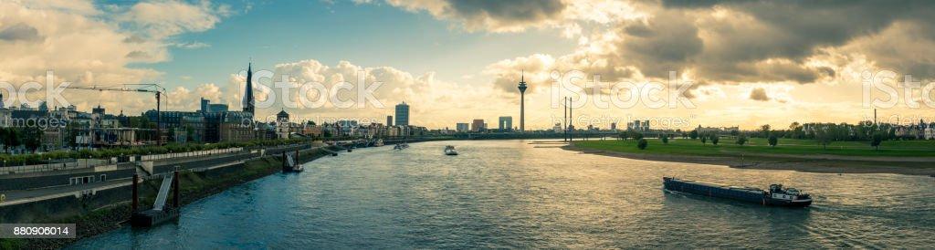 sundown at Düsseldorf in Germany panorama stock photo