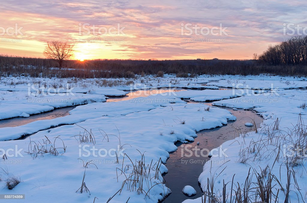 Sundown at Minnesota Valley Wildlife Refuge in Winter stock photo