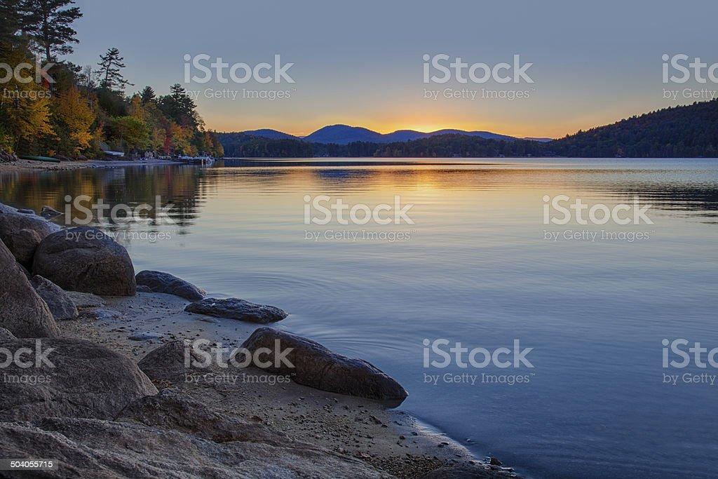 Sundown at Schroon Lake stock photo