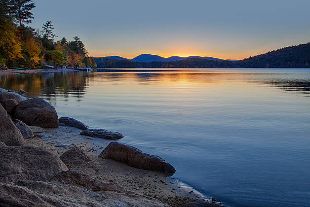 Sundown at Schroon Lake stock photo