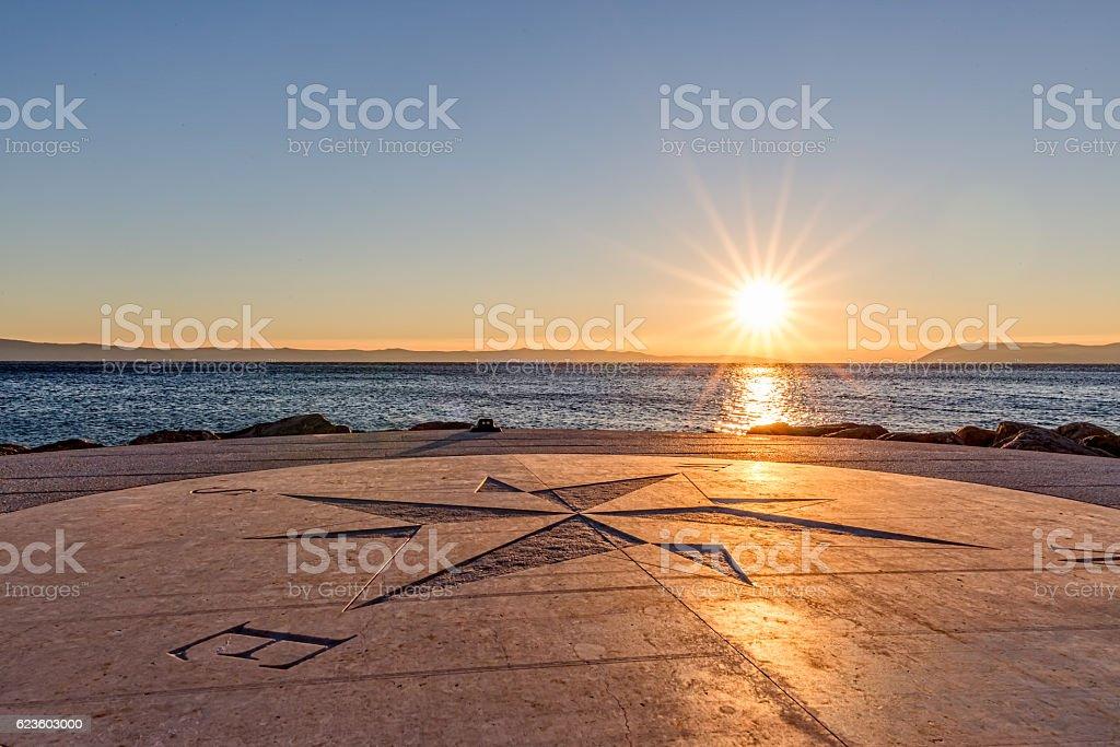 Sundown by the sea stock photo