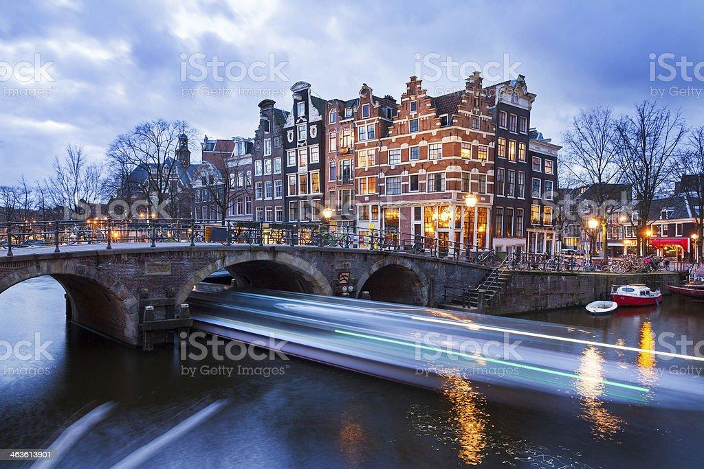 Sundown canal stock photo