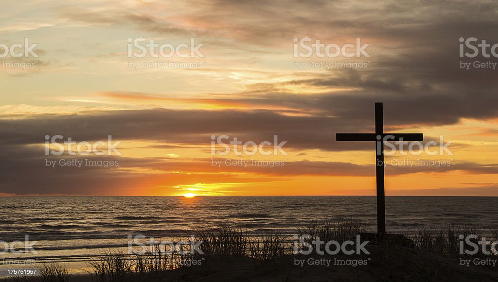 Sundown Cross royalty-free stock photo